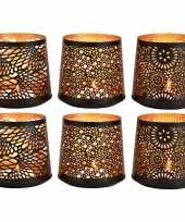 6x theelichthouders waxinelichthouders windlichten set zwart goud 13 cm trend