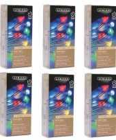 6x timer draadverlichting zilverdraad 40 gekleurde lampjes trend