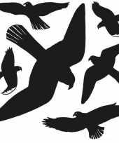 6x vogel afweer raamstickers zwart 30 x 30 cm trend