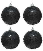6x zwarte glitter glimmer kerstballen 8 cm kunststof trend