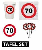 70 jaar tafel versiering pakket verkeersbord trend