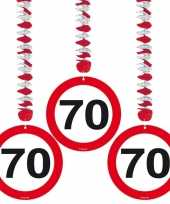 70 jaar versiering stopbord 6 stuks trend