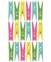 72x gekleurde mini knijpertjes decoratie materiaal trend