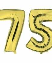 75 jaar gouden folie ballonnen 88 cm leeftijd cijfer trend