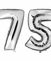 75 jaar zilveren folie ballonnen 88 cm leeftijd cijfer trend