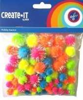 75x knutsel pompoms neon gekleurd met glitters trend