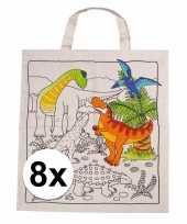 8 stuks inkleurbaar tasjes met dinosaurus motief trend