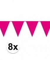 8 stuks roze vlaggetjes slinger van 10 meter trend