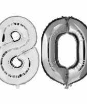 80 jaar zilveren folie ballonnen 88 cm leeftijd cijfer trend