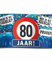 80e verjaardag straatvlag 100x150 cm trend