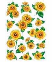 84x zonnebloemen stickers met glitters trend