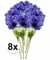8x blauwe anemoon kunstbloemen tak 47 cm trend