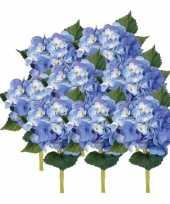 8x blauwe kunst hortensia kunstbloemen met steel 48 cm trend