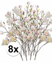 8x creme magnolia kunstbloemen tak 105 cm trend