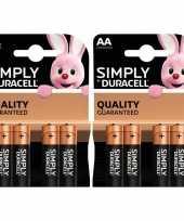 8x duracell aa simply batterijen alkaline lr6 mn1500 1 5 v trend