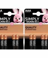 8x duracell aaa simply batterijen alkaline lr03 mn2400 1 5 v trend
