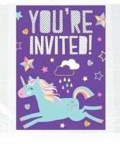 8x eenhoorn themafeest uitnodigingen kaarten trend