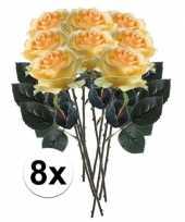 8x gele rozen simone kunstbloemen 45 cm trend