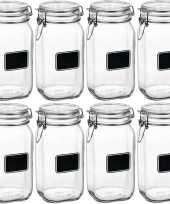 8x glazen snoeppotten krijt 1 5 l trend