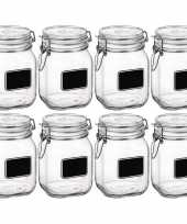 8x glazen snoeppotten krijt 1 liter trend