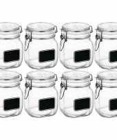 8x glazen snoeppotten krijt 750 ml trend