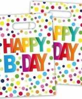 8x happy b day feestzakjes met stippen 22 cm trend