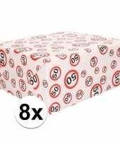 8x inpakpapier cadeaupapier 50 jaar 300 x 70 cm op rol trend