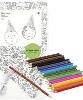 8x knutsel papieren feesthoedjes om in te kleuren incl potloden trend