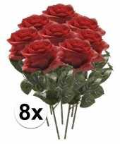 8x kunstbloem roos rood trend