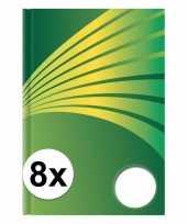 8x luxe schrift a4 formaat groene harde kaft trend
