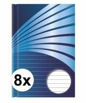 8x luxe schrift a5 formaat blauwe harde kaft trend