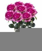 8x paars roze rozen simone kunstbloemen 45 cm trend