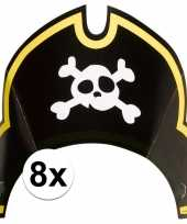 8x piraten themafeest feesthoedjes kapitein trend