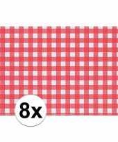 8x placemat rood wit geblokt 43 x 30 cm trend