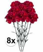 8x rode anjer kunstbloemen tak 65 cm trend