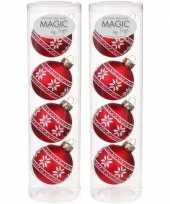 8x rode glazen kerstballen noorse print 6 cm trend