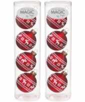 8x rode glazen kerstballen noorse rendieren print 6 cm trend