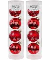 8x rode glazen kerstballen noorse sneeuw print 6 cm trend