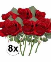 8x rode rozen kunstbloemen 30 cm trend