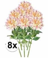 8x roze dahlia kunstbloemen tak 70 cm trend