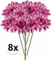 8x roze gerbera kunstbloemen 47 cm trend