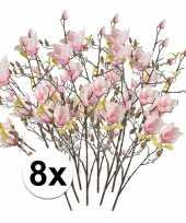 8x roze magnolia kunstbloemen tak 105 cm trend