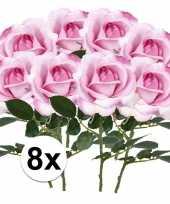8x roze rozen carol kunstbloemen 37 cm trend