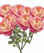 8x roze rozen kunstbloemen 66 cm trend