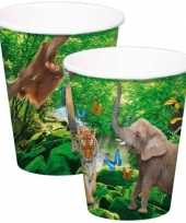 8x safari jungle themafeest bekertjes 250ml trend