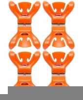 8x slingers decoratie ophangen slingerklemmen oranje trend