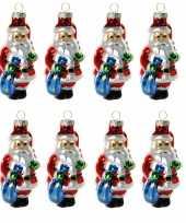 8x stuks kersthanger glazen kerstman met zak 8 cm kerstboomversiering trend