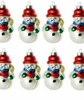 8x stuks kersthanger glazen sneeuwpop 8 cm kerstboomversiering trend