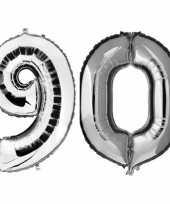 90 jaar zilveren folie ballonnen 88 cm leeftijd cijfer trend