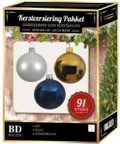 91 stuks kerstballen mix wit goud donkerblauw voor 150 cm boom trend
